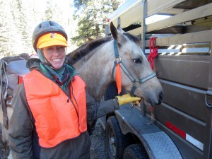Orange vest, orange hat under my helpmet, orange streamers on the horses. We were not going to be mistaken for elk.