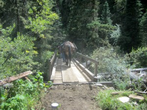Gaposis is gone! John is heading to the cabin side of the bridge so we can finish painting. (The rail is done.)