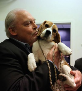 Not your average glamour shot.  (Stacy Keach with Miss P, from the Westminster site.)