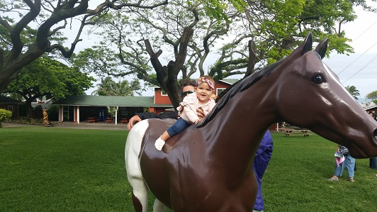 Leilani fiding the fake horse!